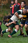 Benjamin Masoe tries to break through the tackle of Jeremy Biggelaar. Counties Manukau Premier Club Rugby game between Bombay & Manurewa played at Bombay on Saturday June 14th 2008..Bombay won 19 - 12 after leading 12 - 0 at halftime.