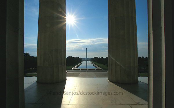 The Lincoln Memorial located on the Mall in Washington DC.  A US National Landmark with beautiful architectural detail including columns and a statue of Abraham Lincoln. A popular tourist destination in Washington DC.  Many iconic images of this Washington DC Monument.    Washington D.C.