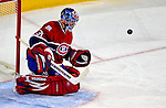 3 February 2009: Montreal Canadiens' goaltender Carey Price makes a save in the second period against the Pittsburgh Penguins at the Bell Centre in Montreal, Quebec, Canada. The Canadiens defeated the Penguins 4-2. ***** Editorial Sales Only ***** Mandatory Photo Credit: Ed Wolfstein Photo