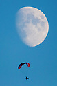 22/08/18<br /> <br /> A powered paraglider, also known as paramotor, takes a moonlight flight over, Clifton, Ashbourne, Derbyshire last night.<br />  <br /> All Rights Reserved: F Stop Press Ltd. +44(0)1335 344240  www.fstoppress.com www.rkpphotography.co.uk