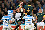 ENG - London, England, October 30: During the bronze medal match between South Africa (green/gold) and Argentina (blue/white) on October 30, 2015 at The Stadium, Queen Elizabeth Olympic Park in London, England. Final score 24-13 (HT 16-0). (Photo by Dirk Markgraf / www.265-images.com) *** Local caption *** (L-R) Tomas Lavanini #5 of Argentina, Jeronimo De La Fuente #12 of Argentina, Duane Vermeulen #8 of South Africa, Eben Etzebeth #4 of South Africa, Marcos Ayerza #1 of Argentina, Ruan Pienaar #9 of South Africa