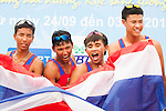 Thailand Team celebrates after winning the Gold Prize in the Rowing Men's competition on Day Eight of the 5th Asian Beach Games 2016 at Bien Dong Park on 01 October 2016, in Danang, Vietnam. Photo by Marcio Machado / Power Sport Images