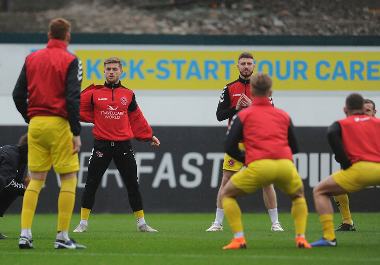 Fleetwood Town's Conor McAleny and James Husband during the pre-match warm-up <br /> <br /> Photographer Kevin Barnes/CameraSport<br /> <br /> The EFL Sky Bet League One - Plymouth Argyle v Fleetwood Town - Saturday 24th November 2018 - Home Park - Plymouth<br /> <br /> World Copyright © 2018 CameraSport. All rights reserved. 43 Linden Ave. Countesthorpe. Leicester. England. LE8 5PG - Tel: +44 (0) 116 277 4147 - admin@camerasport.com - www.camerasport.com