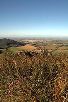 View of the countryside of the vale of York from the top of Sutton bank.North Yorkshire, England,Sep 2007.