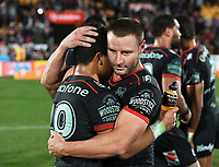 Blake Green hugs Mason Lino.<br /> NRL Premiership rugby league. Vodafone Warriors v St George Illawarra. Mt Smart Stadium, Auckland, New Zealand. Friday 20 April 2018. &copy; Copyright photo: Andrew Cornaga / www.Photosport.nz