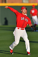 Infielder Mitchell Gunsolus (22) of the Greenville Drive at the team's first workout of the season on Tuesday, April 4, 2017, at Fluor Field at the West End in Greenville, South Carolina. (Tom Priddy/Four Seam Images)
