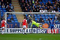 Chris Neal of Fleetwood Town sees the shot hit the bar during the Sky Bet League 1 match between Peterborough and Fleetwood Town at London Road, Peterborough, England on 28 April 2018. Photo by Carlton Myrie.
