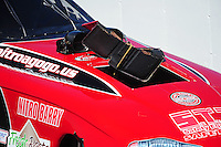 Oct. 15, 2011; Chandler, AZ, USA; Detailed view of damage to the body of NHRA funny car driver Jeff Diehl after an explosion during qualifying at the Arizona Nationals at Firebird International Raceway. Mandatory Credit: Mark J. Rebilas-