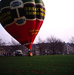 A294G6 Red hot air balloon taking off