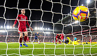 Manchester United's Jesse Lingard scores his side's equalising goal to make the score 1-1<br /> <br /> Photographer AlexDodd/CameraSport<br /> <br /> The Premier League - Liverpool v Manchester United - Sunday 16th December 2018 - Anfield - Liverpool<br /> <br /> World Copyright &copy; 2018 CameraSport. All rights reserved. 43 Linden Ave. Countesthorpe. Leicester. England. LE8 5PG - Tel: +44 (0) 116 277 4147 - admin@camerasport.com - www.camerasport.com