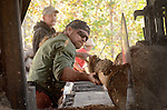 Wayne Stewart guides the log as it leaves the saw while Ronnie Burton watches.  Ronnie will guide the log down the log skidder and onto the pile.