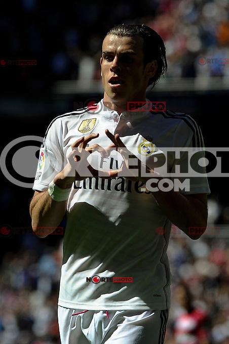 Real Madrid´s Gareth Bale celebrates a goal during 2014-15 La Liga match between Real Madrid and Granada at Santiago Bernabeu stadium in Madrid, Spain. April 05, 2015. (ALTERPHOTOS/Luis Fernandez) /NORTEphoto.com