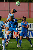 Natasha Kai (6) of Sky Blue FC heads the ball over Kelly Smith (10) of the Boston Breakers. Sky Blue FC defeated the Boston Breakers 2-1 during a Women's Professional Soccer match at Yurcak Field in Piscataway, NJ, on May 31, 2009.