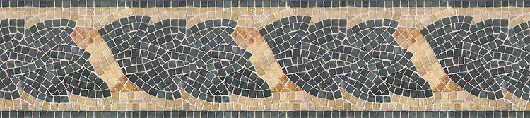 "9"" Milano border, a hand-cut stone mosaic, shown in tumbled Travertine Noce, Durango, Lagos Gold, Rosa Verona, and Verde Alpi."