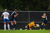 Sky Blue FC goalkeeper Brittany Cameron (1) dives for a ball. Sky Blue FC and the Boston Breakers played to a 0-0 tie during a National Women's Soccer League (NWSL) match at Yurcak Field in Piscataway, NJ, on July 13, 2013.