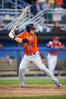 Aberdeen IronBirds designated hitter Chris Shaw (17) at bat during a game against the Batavia Muckdogs on July 15, 2016 at Dwyer Stadium in Batavia, New York.  Aberdeen defeated Batavia 4-2.  (Mike Janes/Four Seam Images)