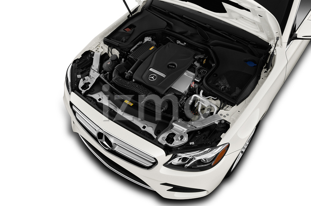 Car stock 2019 Mercedes Benz E-class 300 4 Door Sedan engine high angle detail view