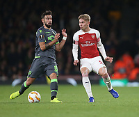 Arsenal's Emile Smith Rowe and Sporting CP's Bruno Fernandes<br /> <br /> Photographer Rob Newell/CameraSport<br /> <br /> UEFA Europa League Group E - Arsenal v Sporting CP - Thursday 8th November 2018 - Arsenal Stadium - London<br />  <br /> World Copyright © 2018 CameraSport. All rights reserved. 43 Linden Ave. Countesthorpe. Leicester. England. LE8 5PG - Tel: +44 (0) 116 277 4147 - admin@camerasport.com - www.camerasport.com