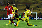 Al-Ahly players and Al-Nassr Hussein Dey player compete during their match at Arab Club championship at Al-Salam Stadium in Cairo, Egypt on July 28, 2017. Photo by Amr Sayed