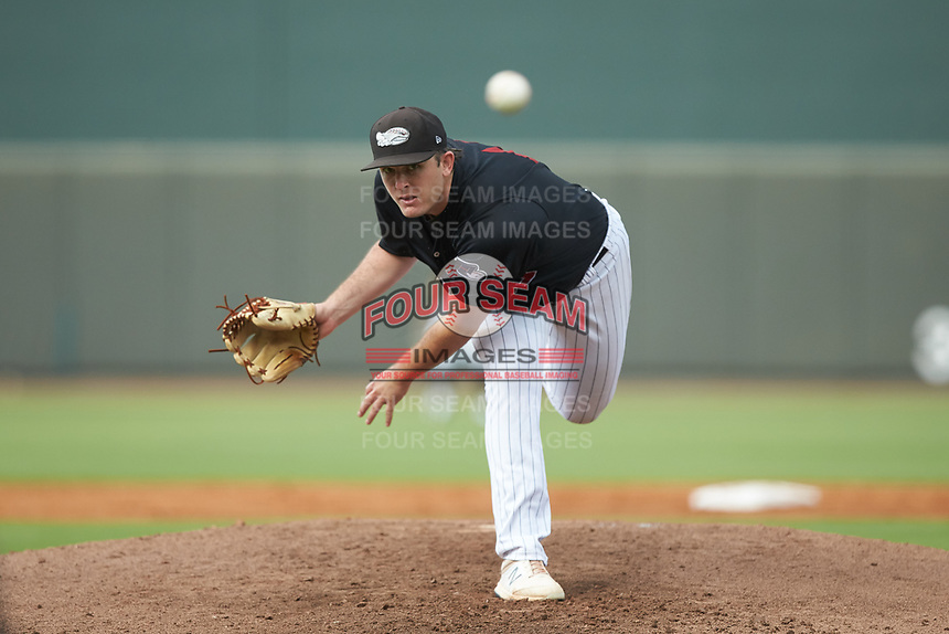 Winston-Salem Warthogs starting pitcher Konnor Pilkington (44) delivers a pitch to the plate against the Wilmington Blue Rocks at BB&T Ballpark on July 17, 2019 in Winston-Salem, North Carolina. The Blue Rocks defeated the Warthogs 4-1. (Brian Westerholt/Four Seam Images)