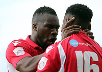 Darren McQueen of Ebbsfleet United is congratulated by Aaron McLean after scoring the second goal during Ebbsfleet United vs Chelmsford City, Vanarama National League South Play-Off Final Football at The PHB Stadium on 13th May 2017