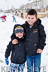 Brooklyn and Rico McCarthy enjoying the snow in Lissarda, Listowel on Friday.
