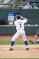 Adam Engel (7) of the Winston-Salem Dash at bat against the Myrtle Beach Pelicans at BB&T Ballpark on April 18, 2015 in Winston-Salem, North Carolina.  The Pelicans defeated the Dash 4-1 in game one of a double-header.  (Brian Westerholt/Four Seam Images)