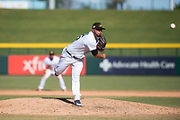Mesa Solar Sox relief pitcher Eduardo Jimenez (66), of the Detroit Tigers organization, delivers a pitch during an Arizona Fall League game against the Salt River Rafters at Sloan Park on November 9, 2018 in Mesa, Arizona. Mesa defeated Salt River 5-4. (Zachary Lucy/Four Seam Images)