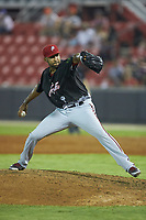 North Division pitcher Ronald Pena (47) of the Potomac Nationals in action during the 2018 Carolina League All-Star Classic at Five County Stadium on June 19, 2018 in Zebulon, North Carolina. The South All-Stars defeated the North All-Stars 7-6.  (Brian Westerholt/Four Seam Images)