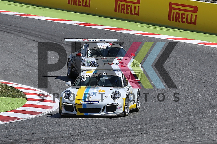 Barcelona, 10.05.15, Motorsport, Porsche Mobil 1 Supercup 2015 : Patrick Eisemann (F&ouml;rch Racing by Lukas MS, #08), Jean Glorieux (Speed Lover &amp; Allure, #18)<br /> <br /> Foto &copy; P-I-X.org *** Foto ist honorarpflichtig! *** Auf Anfrage in hoeherer Qualitaet/Aufloesung. Belegexemplar erbeten. Veroeffentlichung ausschliesslich fuer journalistisch-publizistische Zwecke. For editorial use only.