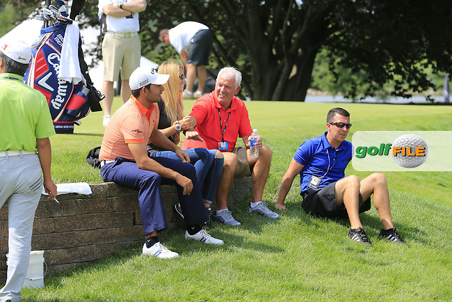 Pablo LARRAZABAL (ESP) with Gala chat to Gerry McIlroy on the range during Wednesday's Practice Day of the WGC Bridgestone Invitational, held at the Firestone Country Club, Akron, Ohio.: Picture Eoin Clarke, www.golffile.ie: 30th July 2014