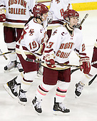 Danielle Doherty (BC - 19), Megan Shea (BC - 23) - The Boston College Eagles defeated the visiting Northeastern University Huskies 2-1 on Sunday, January 30, 2011, at Conte Forum in Chestnut Hill, Massachusetts.