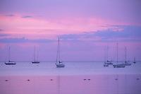 Sailboats at anchor at twilight, Eagle Harbor, Ephraim, Door County, Wisconsin