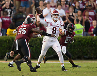 Hawgs Illustrated/BEN GOFF <br /> Austin Allen, Arkansas quarterback, throws the ball under pressure from South Carolina defenders Dante Sawyer (95) and Jamyest Williams (21) in the third quarter Saturday, Oct. 7, 2017, during the game at Williams-Brice Stadium in Columbia, S.C.