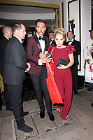 LONDON, ENGLAND - SEPTEMBER 10 :  Ross Adams and Stephanie Waring leave the TV Choice Awards 2018, at The Dorchester hotel, on September 10, 2018 in London, England.<br /> CAP/AH<br /> &copy;AH/Capital Pictures