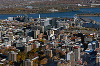 aerial photograph of Montreal, Quebec, Canada toward the Old Port of Montreal and the Saint Lawrence river