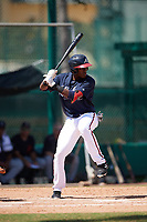 Atlanta Braves JC Encarnacion (45) at bat during an Instructional League game against the Detroit Tigers on October 10, 2017 at the ESPN Wide World of Sports Complex in Orlando, Florida.  (Mike Janes/Four Seam Images)