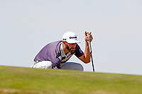 Dustin Johnson (USA) lines up a putt on the first hole during the third round of the 118th U.S. Open Championship at Shinnecock Hills Golf Club in Southampton, NY, USA. 16th June 2018.<br /> Picture: Golffile | Brian Spurlock<br /> <br /> <br /> All photo usage must carry mandatory copyright credit (&copy; Golffile | Brian Spurlock)