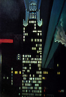 "New York: A Painting, ""Radiator Building--Night, New York"" by Georgia O'Keefe of American Radiator Building, 1927."