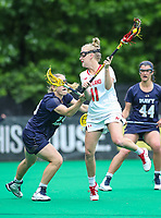 College Park, MD - May 19, 2018: Maryland Terrapins Caroline Steele (11) attempts a shot during the quarterfinal game between Navy and Maryland at  Field Hockey and Lacrosse Complex in College Park, MD.  (Photo by Elliott Brown/Media Images International)