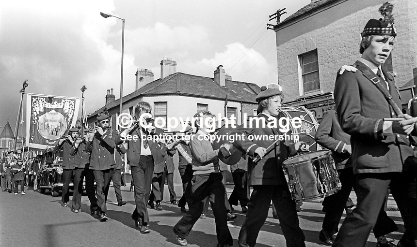 Flute band heads an Orange lodge leaving Sandy Row, Belfast, N Ireland, to join up with the main parade going to The Field at Edenderry on the outskirts of Belfast. 197407120389b<br /> <br /> Copyright Image from Victor Patterson, 54 Dorchester Park, Belfast, UK, BT9 6RJ<br /> <br /> Tel: +44 28 9066 1296<br /> Mob: +44 7802 353836<br /> Voicemail +44 20 8816 7153<br /> Email: victorpatterson@me.com<br /> Email: victorpatterson@gmail.com<br /> <br /> IMPORTANT: My Terms and Conditions of Business are at www.victorpatterson.com