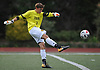 Rob Leamey #1, St. Anthony's goalie, kicks a ball upfield during a Nassau-Suffolk CHSAA varsity boys soccer game against host Kellenberg High School on Thursday, Sept. 21, 2017. St. Anthony's won by a score of 1-0.