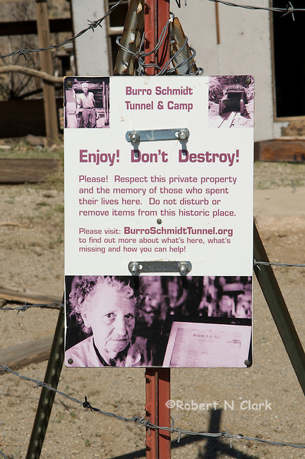 Sign marking Burro Schmidt Tunnel and Camp