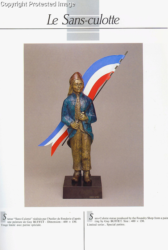 "Guy Buffet's ""Le Sans-culotte"" bronze sculpture, created for the celebration of the French Revolution. 1989"