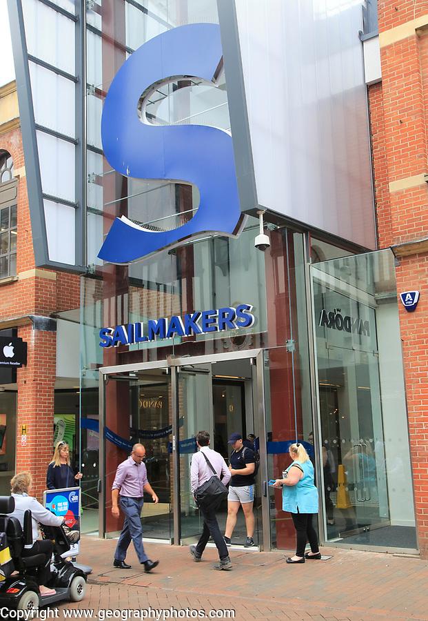 Entrance to Sailmakers shopping centre, Tavern Street, Ipswich, Suffolk, England, UK