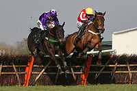 "Race winner Diamond Sweeper ridden by Wayne Hutchinson (R) jumps the last alongside Ballylifen ridden by Will Kennedy in the Call Star Sports On 08000 521321 ""National Hunt"" Novices Hurdle"