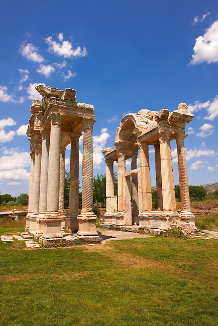 "Picture of the double Tetrapylon Gate, Aphrodisias, Turkey. A tetrapylon (Greek: Τετράπυλον, ""four gates"") is an ancient type of Roman monument of cubic shape, with a gate on each of the four sides: generally it was built on a crossroads. stock photos & photo art prints. 5"
