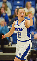 NWA Democrat-Gazette/CHARLIE KAIJO Rogers High School guard Courtney Storey (2) reacts after shooting a three during a basketball game, Friday, February 8, 2019 at Rogers High School in Rogers.