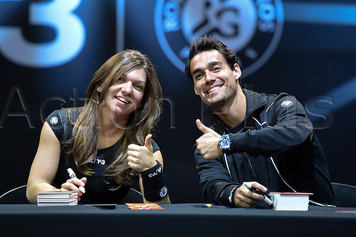 21.05.2015. Hôtel Salomon de Rothschild , Paris, France. Adidas launch of new clothing for the upcoming Roland Garros tennis tournament.  Fabio Fognini and Simona Halep at the press conference