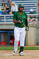 Beloit Snappers first baseman Miguel Mercedes (7) steps to the plate during a Midwest League game against the Peoria Chiefs on April 15, 2017 at Pohlman Field in Beloit, Wisconsin.  Beloit defeated Peoria 12-0. (Brad Krause/Four Seam Images)
